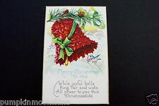 #H751- Vintage Unused Xmas Greeting Post Card Red Holly Holiday Bell & Bluebirds