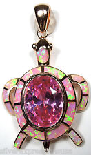 Rose Gold Plated 925 Sterling Silver Pink Opal Inlay & Pink Topaz Turtle Pendant