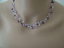 Collier Violet/Parme/ Mauve/Cristal p robe de Mariée/Mariage/Soirée, perles