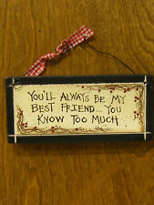 FRIENDS SIGNS #30933C You'll Always Be My Best Friend...You Know Too Much