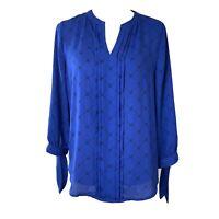 41 Hawthorn Stitch Fix Womens Blue Black Printed Split Neck Blouse Size Medium
