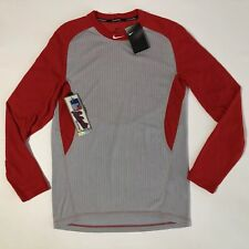 Nike Dri-Fit Men's Baseball Ls Shirt Authentic Collection Red/grey Sz M💰45