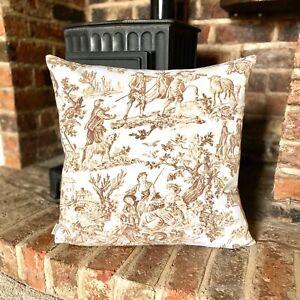 1160. Brown Toile de Jouy 100% cotton cushion cover, Various sizes