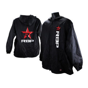 Big Rolling Power RBP Red Star White Lettering Black Fleece Lined Nylon Jacket
