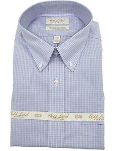 Roundtree /& Yorke Dress Shirt Men/'s Size 2XB Tall Blue White Plaid Luxury Cotton