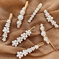 1pcs Women Pearl Hair Clip Snap Barrette Stick Hairpin Bobby Hair Accessories