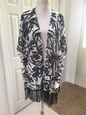 NWT Black/white Sheer Fringe Kimono Swimsuit Cover Up Shrug  One Size