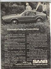 Original 1971 Saab Magazine Ad - A Beautiful Body Isn't Everything