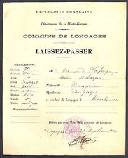 Laissez-Passer. Commune de Longages (Haute-Garonne) 1916. N°2
