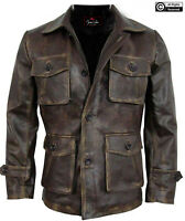 Mens Stylish Cafe Racer Biker Leather Distressed Leather Coat Jacket Size 48 2XL