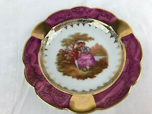 VINTAGE LIMOGES SMALL DISPLAY PLATE DARK PINK WITH GOLD TRIM & COURTING COUPLE