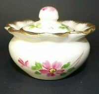 Porcelain Trinket Bowl with Lid ~ Hand Painted Gold Gilding ~ Antique
