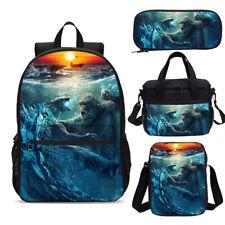 Movie Godzilla vs King Kong Printed Backpack Lunch Bags Pen Case Lot Bookbag Set