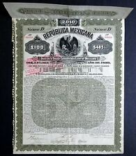 1899 Mexico: Republica Mexicana: Mexican Exterior Gold Bond for £100/$485 Gold