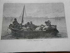 Gravure 1863 - Le prisonnier d'après Gérôme