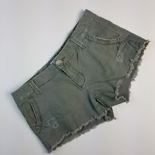 "Aeropostale Junior's Shorts Green Khaki 5 Pockets Distressed Denim 3"" Size 3/4"