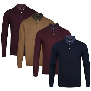 Long Sleeve Polo Shirt New NEXT™ Mens Contrast Collar Knitted Cotton Jumper Top