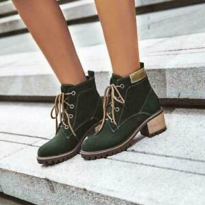 Womens Fashion Retro Round Toe Lace Up Punk Ankle Boots Chunky Mid Heels US C313