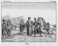 Perser mit Araberpferd. Original-Lithographie von 1832