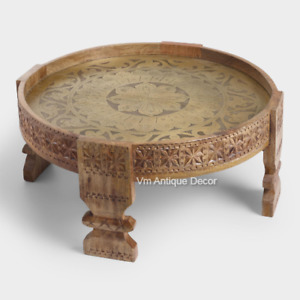 Indian Beautifull Handmade Carving Brass Chakki Table, Grinder Coffee Table