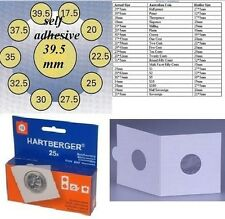 25 HARTBERGER self adhesive  2 x 2coin holders:39.5 mm   made in the Netherlands