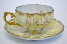 Tea Cup and Saucer Royal Sealy China Made in Japan Yellow with Lustre Finish