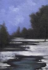 Azules del invierno: diaria IMPRESIONISTA ORIGINAL ACEITE Pintura Por Terry P Wylde