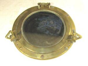 "8"" Brass Porthole Mirror Nautical Maritime Ship Cabin Window Vintage Repro"