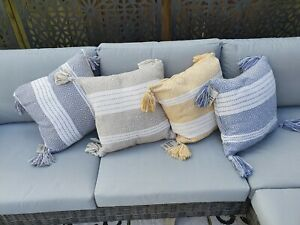 2x Eco-Friendly Boho Geometric Cushion Pillow Cover Tassels sofa Garden Filled