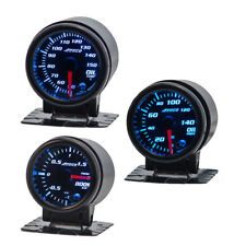 """52mm 2"""" Oil Temp  / Pressure / Boost Bar 3 gauge package Blue Red Yellow Led"""