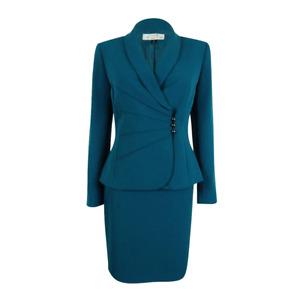 NWT Tahari ASL Women's Pintuck Asymmetrical Button Skirt Suit, Size 2