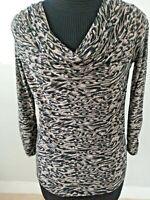 Isabella Rodriguez Women's Top Long Sleeve Leopard Print Drape Neck Size S..
