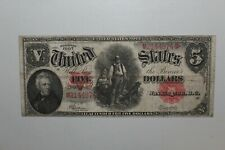 1907 $5 Us Legal Tender Large Size Bank Note Woodchopper