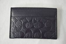 NWT! COACH Signature Embossed Pebbled Leather ID Card Case Midnight / Navy Blue