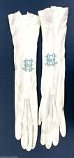 White Kid Leather Gloves Antique VTG Long Opera Length Wedding French 10 Button