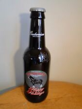 """Large 15"""" BUDWEISER Brown Glass Beer Bottle Embossed Happy Holidays Clydesdales"""