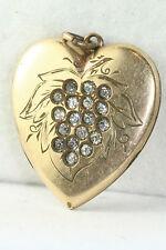 Victorian Antique Gold Filled Rhinestone Grapes Heart Locket