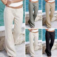 Women Casual Work Fashion Summer Solid Wide Leg Long Palazzo Pants Trousers