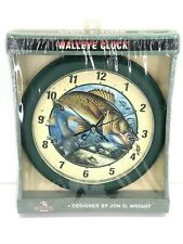 "Rivers Edge Products 10"" Walleye Clock Designed By Jon Q. Wright NOS NIB #644"