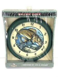 "Rivers Edge Products 10"" Walleye Clock Designed By Jon Q. Wright NOS NIB #644"