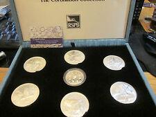 1993 CORONATION COLLECTION 1X £5 COIN 6 X 3 OZ MEDALS ALL SILVER PROOF CASE/COAs