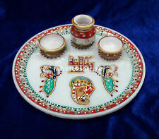 """10"""" Decorative Marble White Indian Design Plate Collectible Gifts Handmade H4094"""