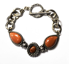 "Sterling Silver 18mm Petrified Wood Caroline Pollack Chain Link Bracelet 7.5"""