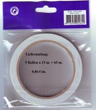 (0,06€/m) 5 Rollen je 13 m. lang 6 mm breit = 65 m. doppelseitiges Klebeband