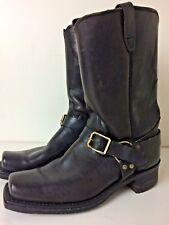 Vintage Black/Brown Buckle Harness Square Toe Motorcycle Boots Size 9 1/2 D
