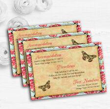 Pink Floral Vintage Paris Shabby Chic Postcard Wedding Guest Information Cards