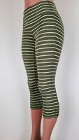 Athleta Women's High Rise Chaturanga Yoga Crop Leggings Gray Green Striped Small