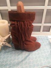 Kelsi Dagger Boho Festival Nutmeg Suede Fringe Boots Size 8