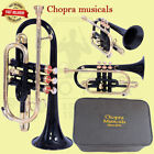 CORNET Bb PITCH BLACK COLOR WITH FREE HARD CASE AND MOUTHPIECE 3 VALVE