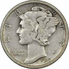 1918-S Mercury Silver Dime Vf Uncertified